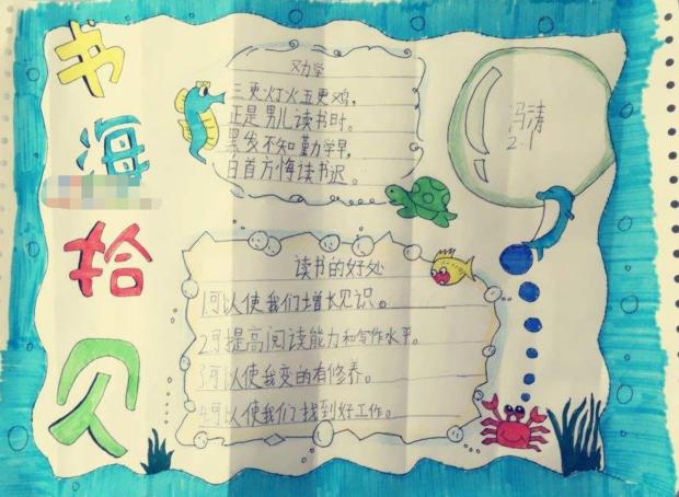 海洋版(书海拾贝)阅读手抄报版面设计图,空白处画什么