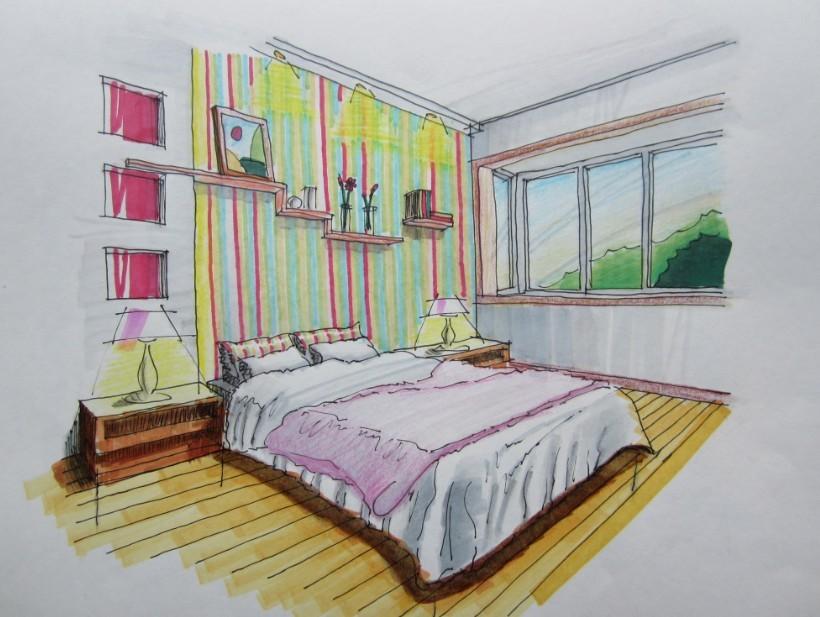 卧室简易手绘图
