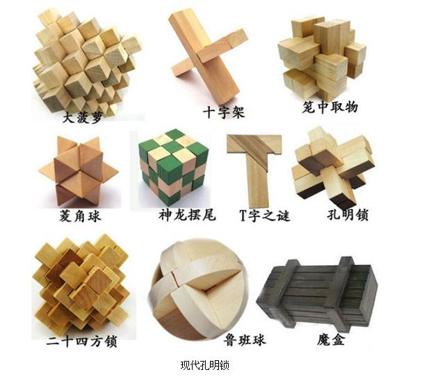 种类复杂多变,下面列出一般比较常见的13种: 1,大小孔明锁 2,四季锁3
